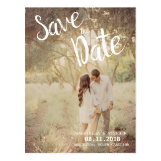 White Brush Photo Wedding Save the Date Postcards