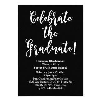 White Brush Script Celebrate Graduation Party Card