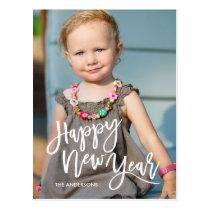 White Brush Script Overlay Happy New Year Photo Postcard