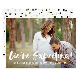 White Brush Script Photo Pregnancy Announcement