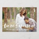 White Brush Script Photo Pregnancy Announcement