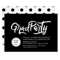 White brush typography polka dots graduation party card