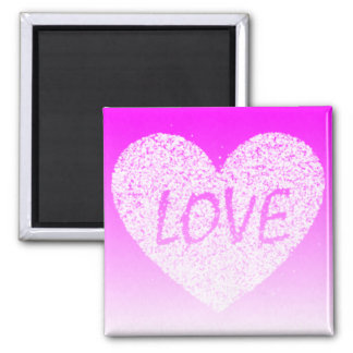 White bubbles spell out Love over Ombre Pink heart Magnet
