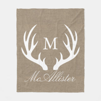 White Buck Antlers Faux Burlap Family Name Fleece Blanket