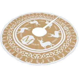 White Bucks Antlers Gold Monogrammed Brushed Polyester Tree Skirt