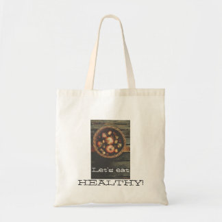 White Budget Tote bag with onions and text
