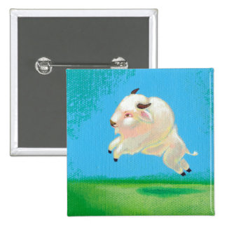 White buffalo art fun happy leaping bison painting buttons