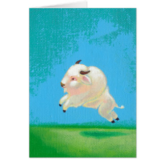 White buffalo art fun happy leaping bison painting card