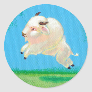 White buffalo art fun happy leaping bison painting classic round sticker
