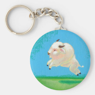 White buffalo art fun happy leaping bison painting keychain