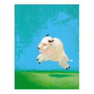 White buffalo art fun happy leaping bison painting postcard