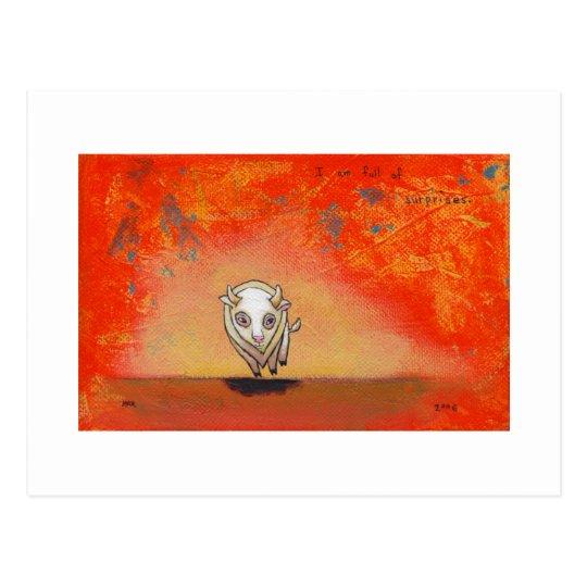 White buffalo art fun red painting contemporary postcard
