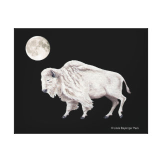White Buffalo Bison Full Moon Canvas Print