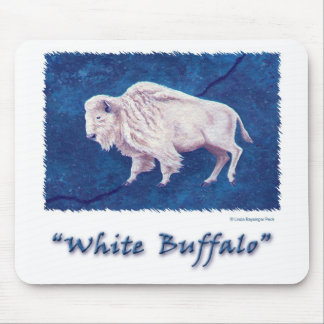 White Buffalo Blue Mouse Pad
