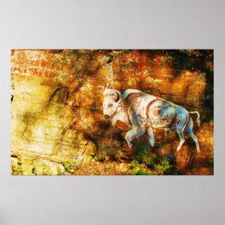 White Buffalo Cliff Art Poster