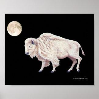 White Buffalo Cow Full Moon Poster