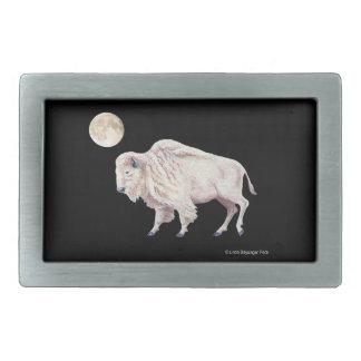 White Buffalo Full Moon Rectangular Belt Buckles