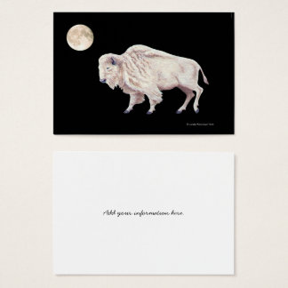 White Buffalo Full Moon Black Background Business Card