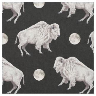 White Buffalo Full Moon Fabric