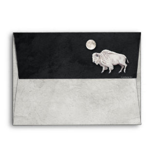 White Buffalo Full Moon Gray Textured Envelope