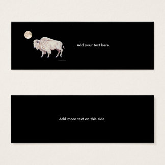White Buffalo Full Moon on Black Mini Business Card