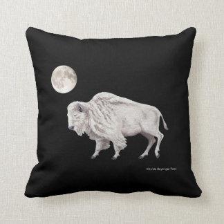 White Buffalo Full Moon Throw Pillow