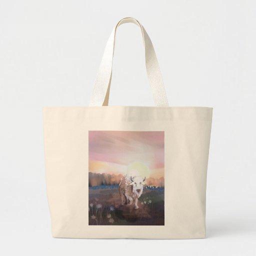 White Buffalo Guardian Tote Bags