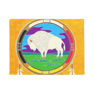White Buffalo Native American Door Mat