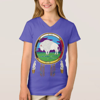 White Buffalo Native American Girls V-Neck T-shirt
