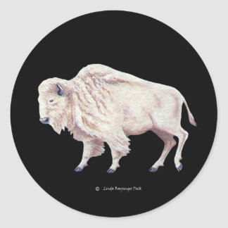 White Buffalo on Solid Black Classic Round Sticker