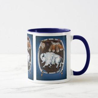 White Buffalo Shield-blue Mugs