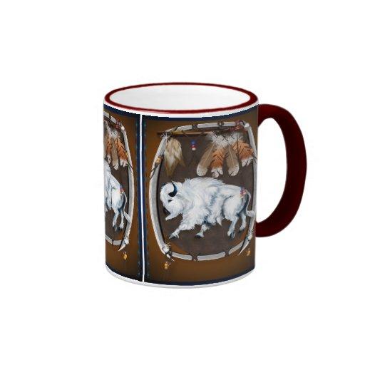 White Buffalo Shield-brown Mugs