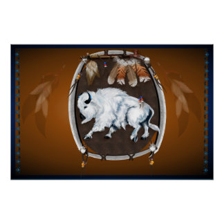 White Buffalo Shield-brown Poster