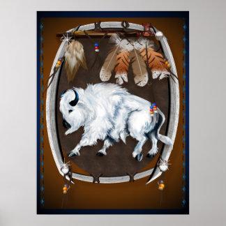 White Buffalo Shield-brown Posters