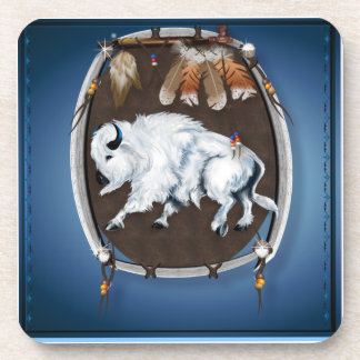 White Buffalo Shield  Cork Coaster