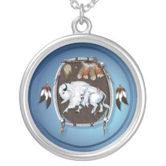 White Buffalo Shield Necklace