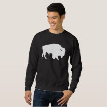 White Buffalo Silhouette Wild Animal Sweatshirt