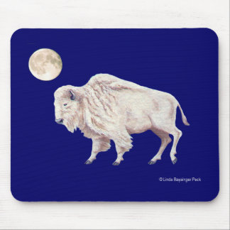 White Buffalo Solid Blue Mouse Pad