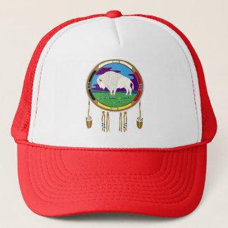 white-buffalo-t-shirt trucker hat