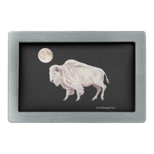 White Buffalo With Full Moon Rectangular Belt Buckle