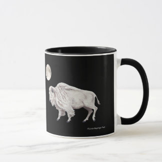 White Buffalos Full Moon Black Mug