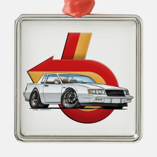 White Buick Grand National Metal Ornament