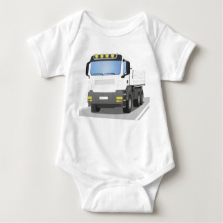 white building sites truck baby bodysuit