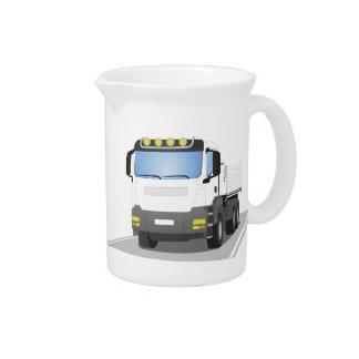 white building sites truck beverage pitcher