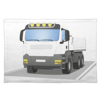 white building sites truck cloth placemat
