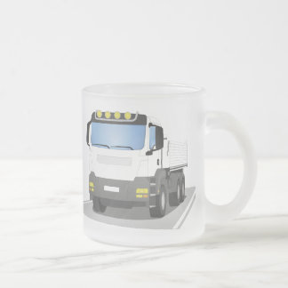 white building sites truck frosted glass coffee mug