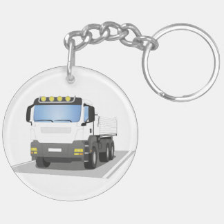 white building sites truck keychain