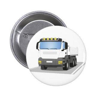 white building sites truck pinback button
