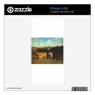 White Bull and Blond Heifer by Gustave Courbet Decals For iPhone 4S