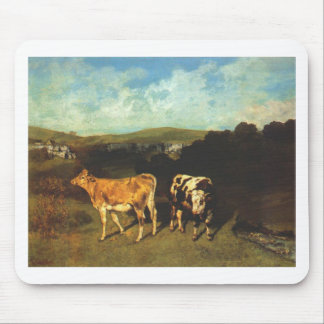 White Bull and Blond Heifer by Gustave Courbet Mouse Pad